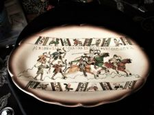 RARE FRENCH ART POTTERY PLATTER NC Sp P/m SIGNED BAYEUX TAPESTRY HORSES ARCHERS